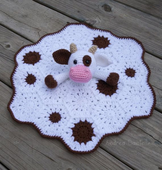 Crochet Baby Blanket Crochet Cow Lovey/ Security Blanket: White Brown by AndreaDa... Check more at http://www.newbornbabystuff.com/crochet-baby-blanket-crochet-cow-lovey-security-blanket-white-brown-by-andreada/