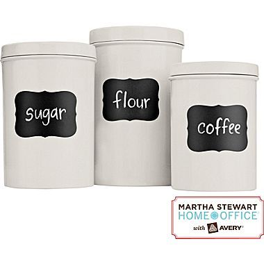 The #MarthaStewartHomeOffice #chalkboard #labels are an #affordable and easy way to update your #kitchen #organization.: Chalkboards Stickers, Chalkboard Labels, Stewart Chalkboards, Martha Stewart Home, Toys Bins, Chalk Boards, Mason Jars, Chalkboards Labels, Home Offices