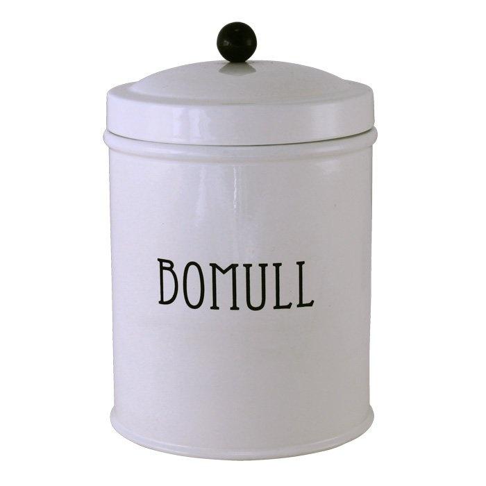"""Plåtburk med text """"Bomull"""" vit  90kr"""