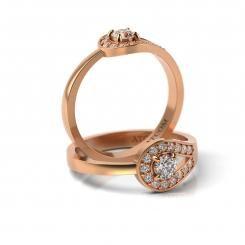 Inel de logodna cu diamante Pompiliu din aur roz