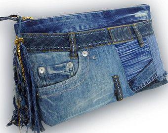 Reciclado de viejos Jeans y tela Obi 2 vías bolsa por Kazuenxx