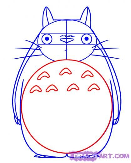 Step 4. How to Draw Totoro from My Neighbor Totoro