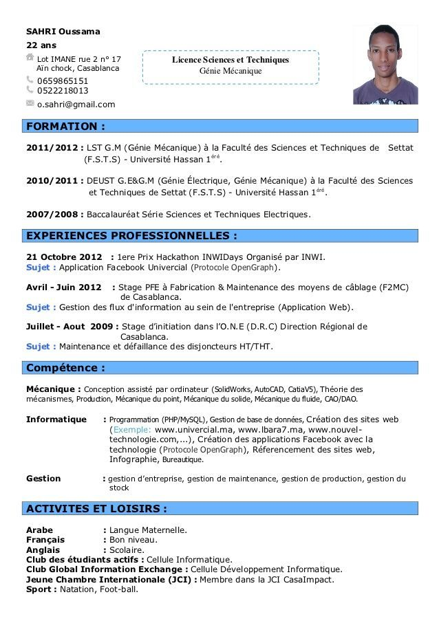 modele cv etudiant stage word