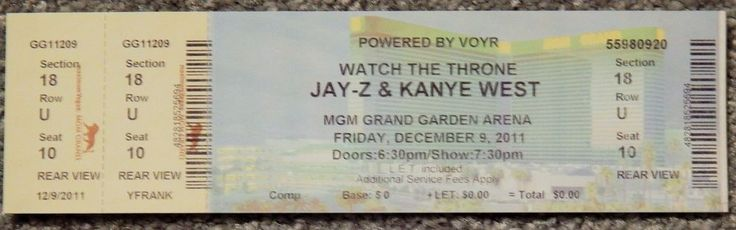 JAY-Z / KANYE WEST WATCH THR ORIGINAL CONCERT USED TICKET, MGM VEGAS, DEC 9 2011