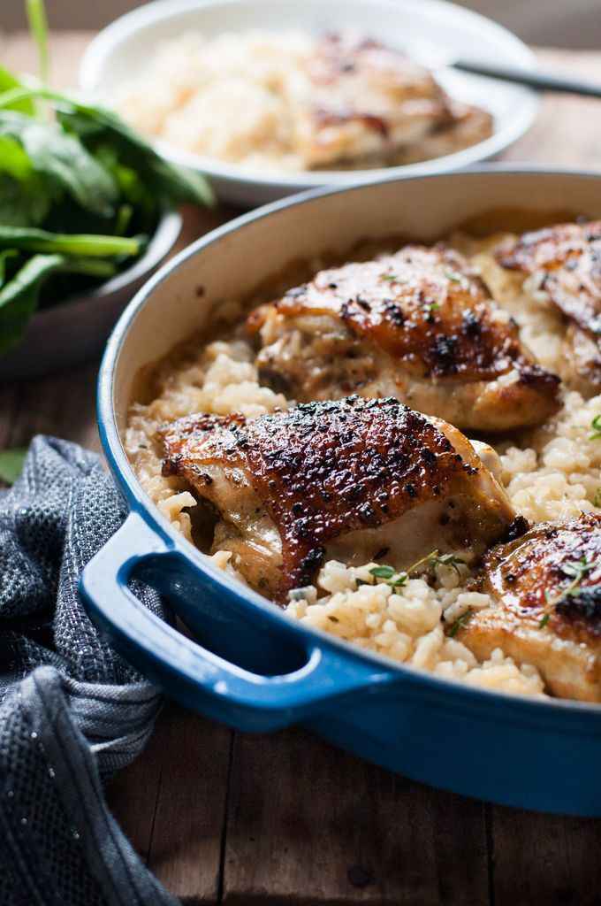 TWO dishes made in one pot! A creamy parmesan garlic risotto with a crispy roasted chicken - all made in ONE pot!