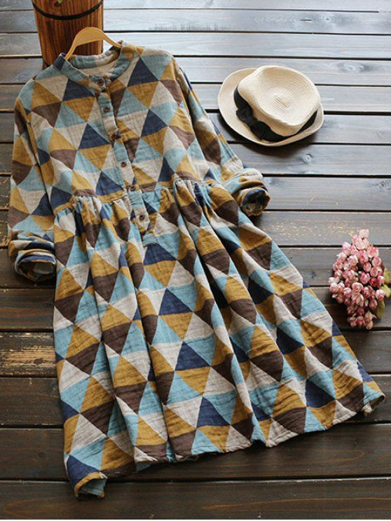 Geometric Print Long Sleeves Checked Shirt Dress - COLORMIX ONE SIZE