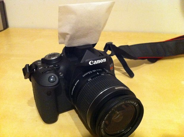 DIY pop up flash diffuser using coffee filter