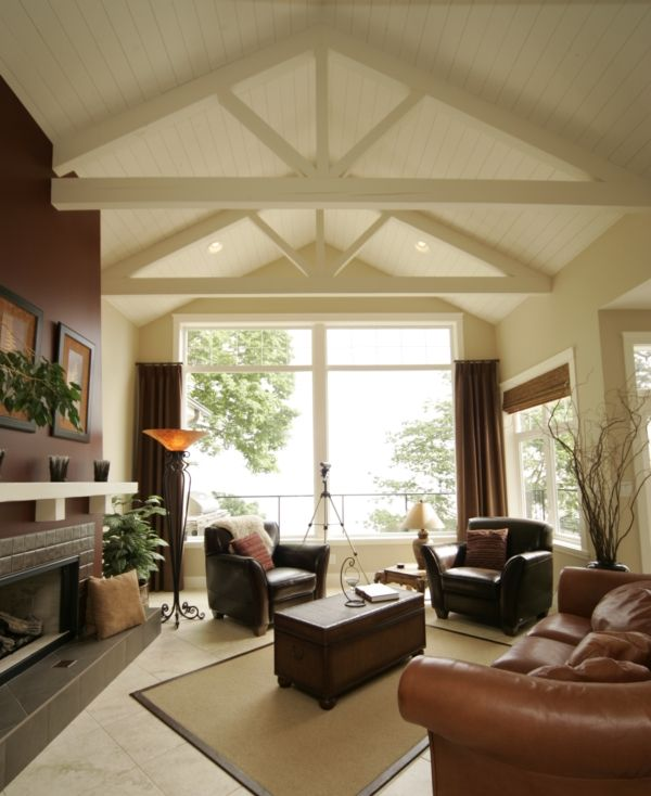 Decorating room with vaulted ceiling adding some false for Half vaulted ceiling with beams