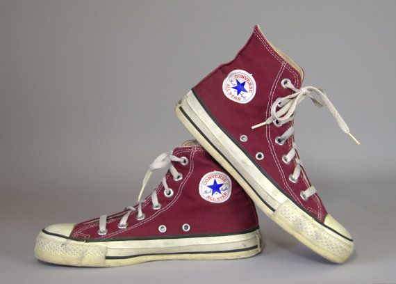 e877ac00acf1 80s Converse Made In USA Burgundy Chuck Taylor High Top Converse Allstars