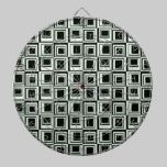 Light Green and Black Contemporary Squares Pattern dartboards