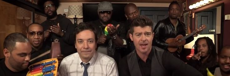 """It's the Golden Age of Late Night, Part MDCVIX ... """"Blurred Lines,"""" one of the two competing Songs of the Summer, got the Fallon/Roots Classroom Instruments treatment on Thursday night's episode when Robin Thicke stopped by the school set. [iframe src=""""http://www.youtube.com/embed/YOZjaqHioro"""" width=""""100%"""" height=""""340""""] SEE MORE: • Mariah Carey, Fallon & The Roots Play With Classroom Instruments • Brian Williams Sings Marky Mark's 'Good Vibrations' • Have Mercy: Jesse & The Rippers R"""
