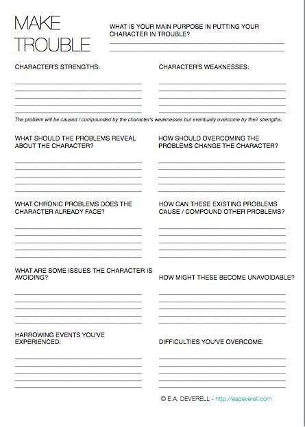 Make trouble for your characters or your characters will make trouble for you. http://eadeverell.com/writing-worksheet-wednesday-make-trouble/?utm_content=buffer9eba1&utm_medium=social&utm_source=pinterest.com&utm_campaign=buffer