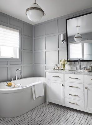 Gray and white bathroom monochrome bathrooms for Monochromatic bathroom designs