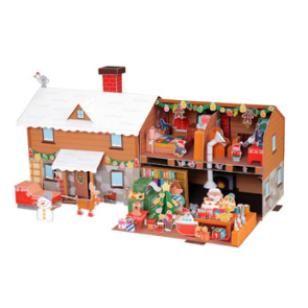 Das Haus des Weihnachtsmanns,Spielzeuge,Papiermodelle,Weihnachten,Party,braun,Dekorationen,Georama,Weihnachtsmann