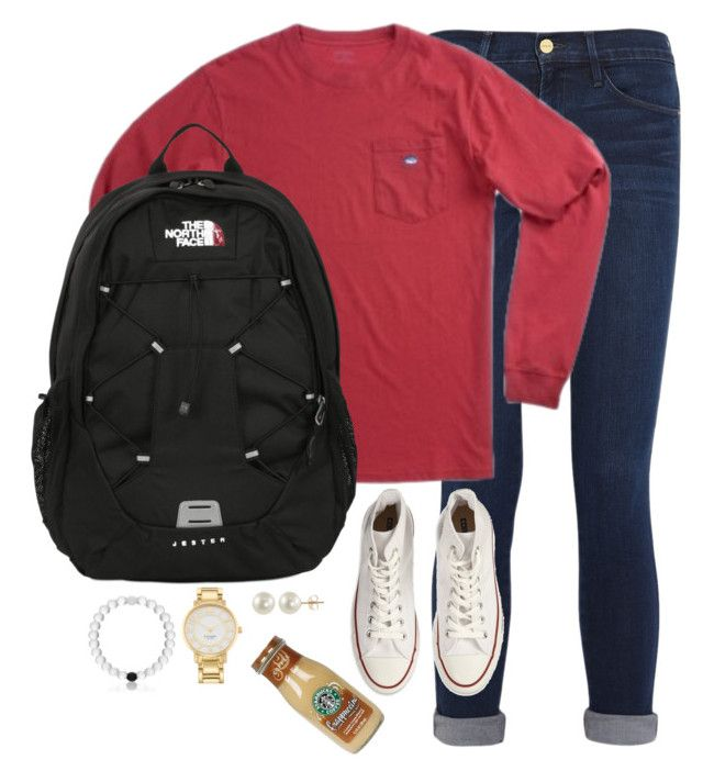 """What I'm wearing tomorrow✌️"" by kaley-ii ❤ liked on Polyvore featuring Frame Denim, Southern Tide, The North Face, Converse, Kate Spade, PearLustre by Imperial and kaleyschoosets"