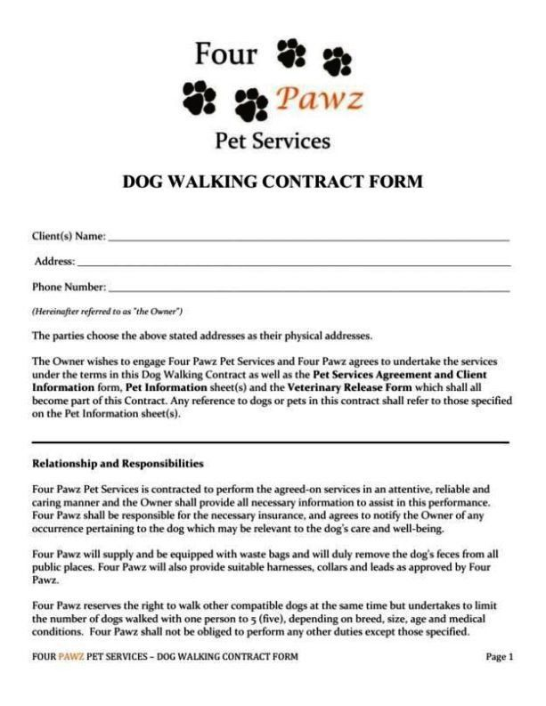 Dog Walking Contract Template Awesome Dog Walking Contract