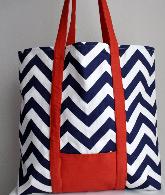 Large Tote Beach Bag Blue Zig Zag and Red Nautical