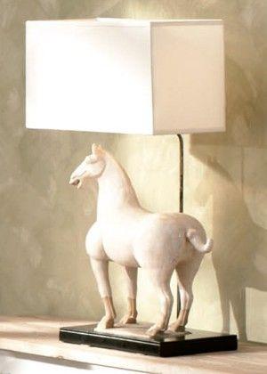 Lámpara caballo cerámica 55 x 30 x 83