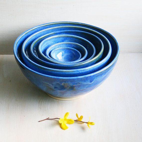 Blue Nesting Bowls  Handmade Ceramic Blue Pottery by sheilasart, $200.00