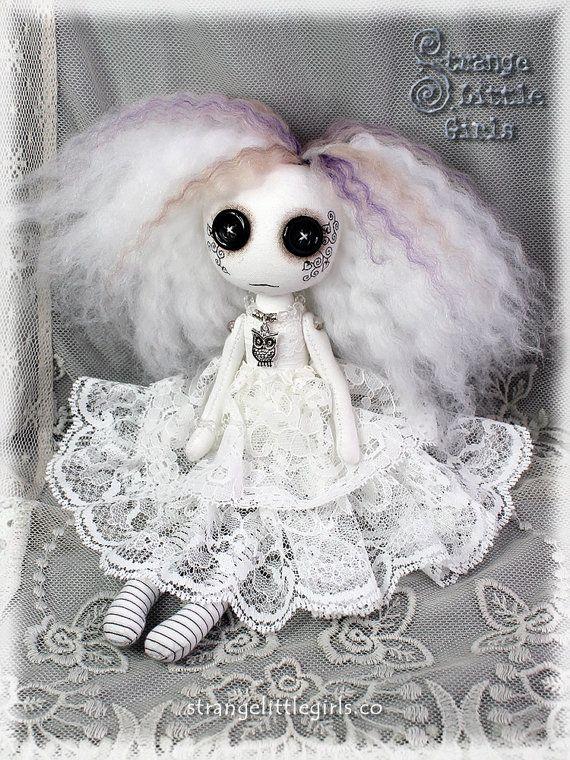 ☾☾ Crafty ☾☾ Autumn ☾☾ Gothic ghost art doll with button eyes (small) - Olwyn Silversky