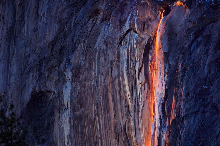 Horsetail Falls glowed just before sunset at Yosemite National Park in California. (Phil Hawkins/Reuters) #