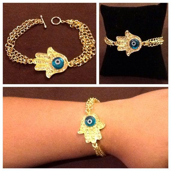 Evil Eye Hamsa Chain Bracelet on Etsy, $4.50 CAD