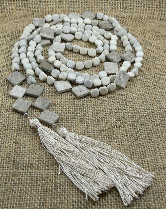 Long Lariat Necklace  Silk Tassels  Feldspar by MMDJewellery