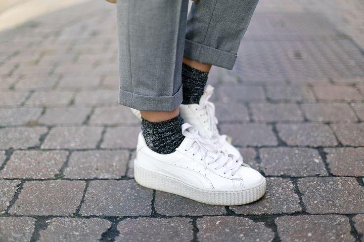 puma creepers white and glitter socks
