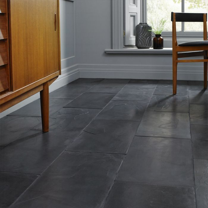 Slate Tiles Tile Floor, Black Stone Tile Flooring