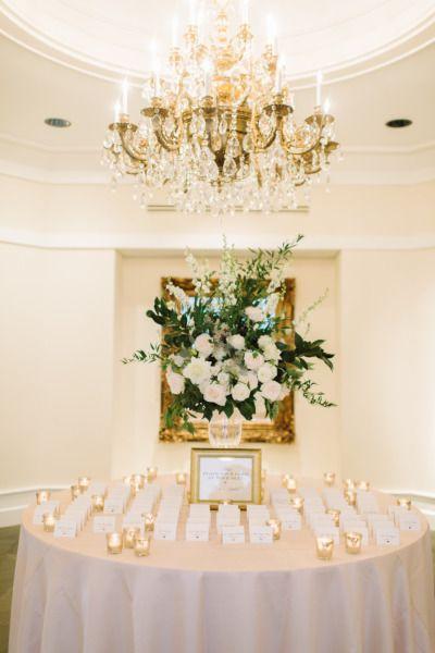 Glam escort card table: http://www.stylemepretty.com/little-black-book-blog/2015/03/11/classic-elegance-at-trump-winery/ | Photography: L. Hewitt - http://landmhewitt.com/