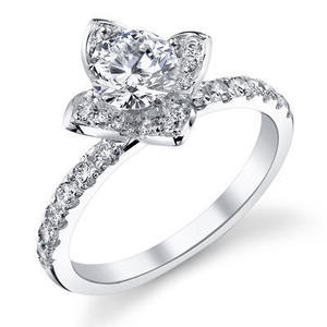 Gorgeous engagement ring with diamonds forming the shape of a rose