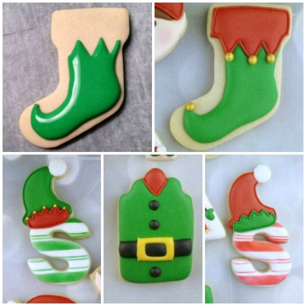 Decorated Elf Cookies with Artfully Delicious {Guest Post}-Using a stocking for the elf foot. Clever! #cookiecuttercom #elf