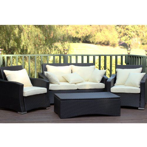 4pc black wicker patio furniture set by wicker lane u2022 steel frame