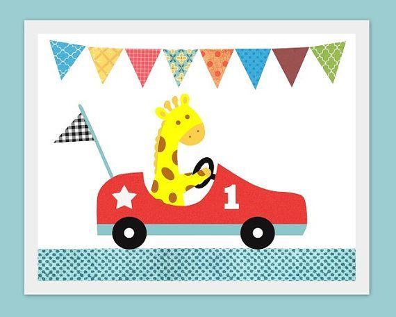 Cool Cars sports 2017: Vroom, Nursery or children's room artwork, giraffe, boy, race car, sports, b...  idee grafisch ontwerp