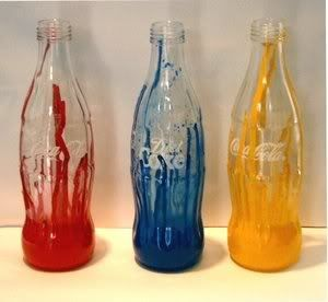 Creative recycling! Painted Glass Coca-Cola Bottles! my next project : )