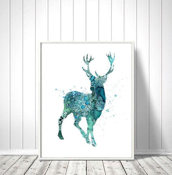 Deer Watercolor Art Print Deer Print Home Wall Décor by QPrints
