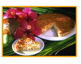 COCONUT TART FROM CAFÉ PESTO, KAWAIHAE (RECIPE) — The coconut tart is our favorite dessert at Café Pesto, Kawaihae! It is really luscious. It has great toasted coconut flavor & is served with a warm Crème Anglaise Sauce. We haven't tried their recipe on their website, but if it is anything like what they serve, it is a winner!    ヅ  ❀HPVR❀