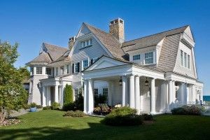 Shingle Style House Plans With White Column Stand Roof