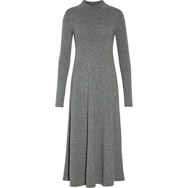 Autumn Cashmere - Cashmere Midi Dress ($218) ❤ liked on Polyvore featuring dresses, grey, grey striped dress, striped dresses, grey midi dress, grey stripe dress and autumn cashmere dress