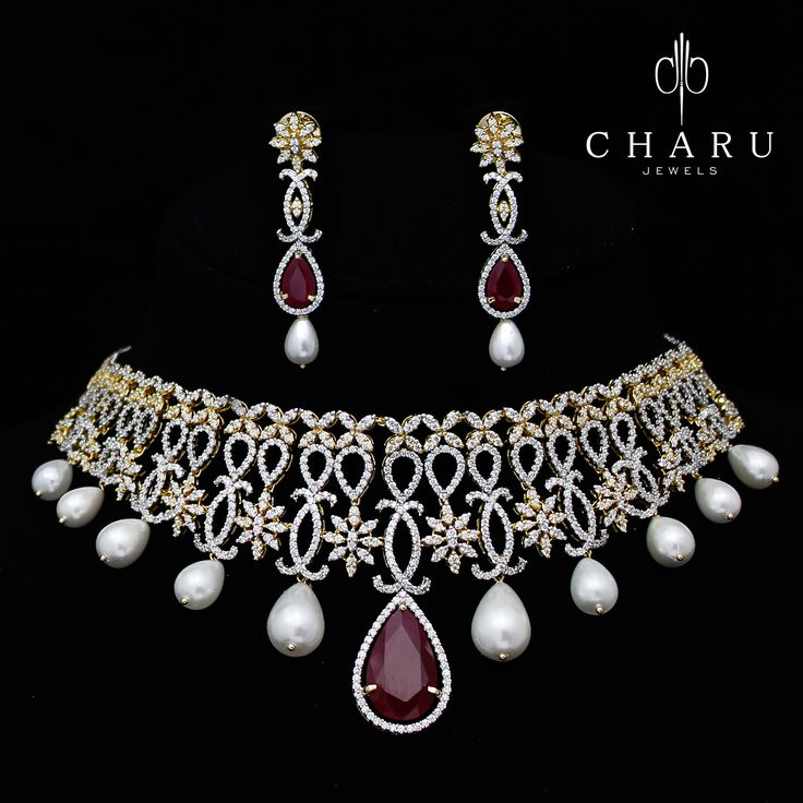 #Wedding #collection of #Indian #tradition #diamond #jewelery from #charu #jewels  #necklaces #beagles
