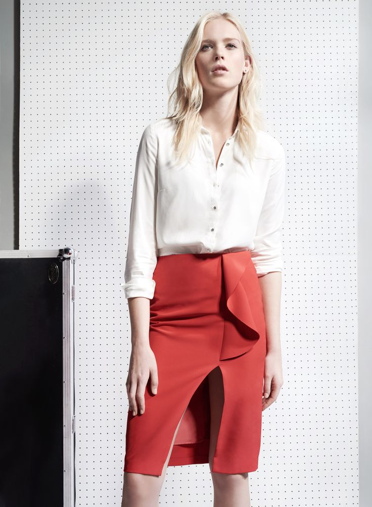 Concept Limited Edition #white#shirt#coral#red#skirt