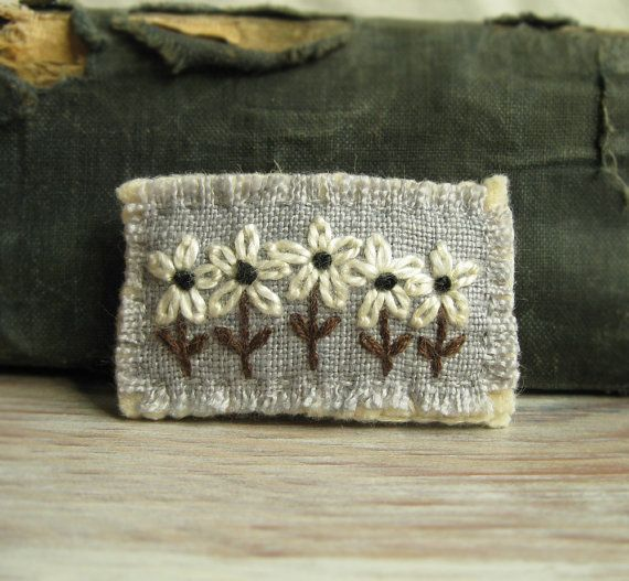 Flower Brooch  White Daisies Hand Embroidered on Gray by Sidereal, $25.00