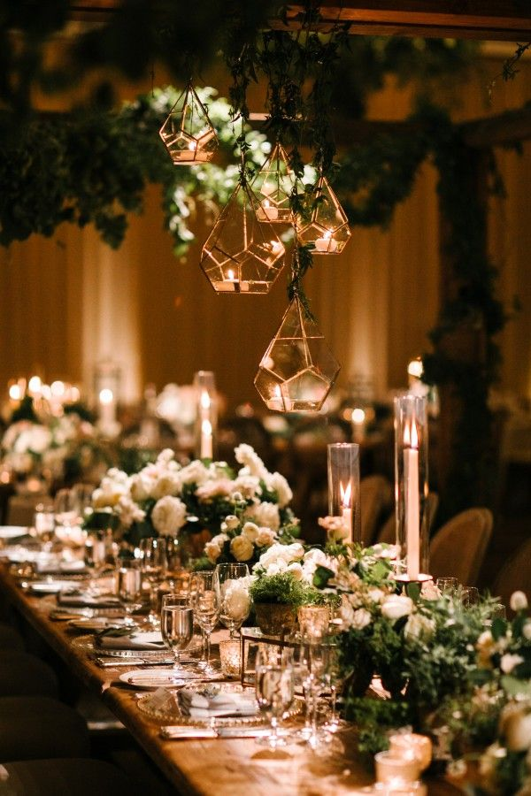 An Intertwined Event: Enchanted Indoor Wedding at Montage; Greenery, Lantern, Orb, Wedding Reception, Tablescape