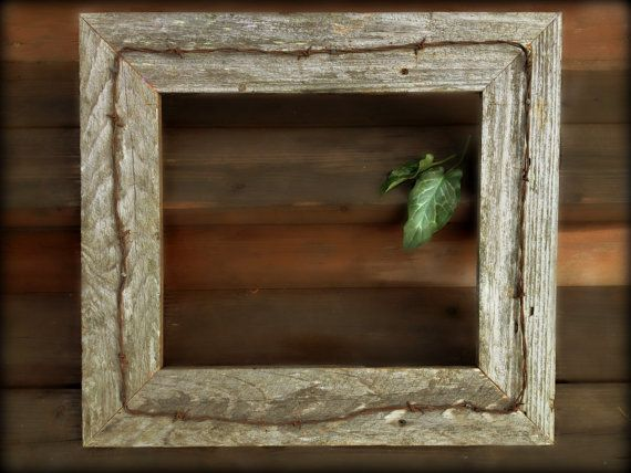 country chic rustic barn wood frame barbed wire by menasrusticdecor