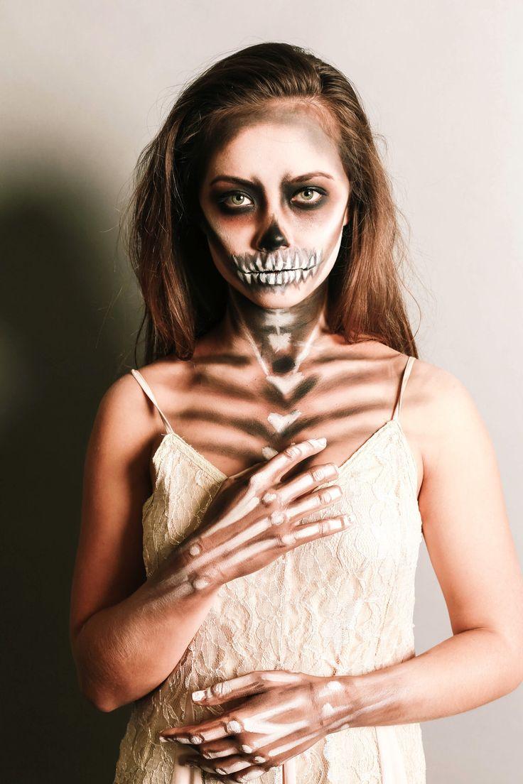 Halloween skeleton makeup/ soft skeleton/ pretty skeleton makeup/ day of the dead makeup