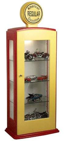 "The perfect cabinet for displaying model cars and motorcycles, NASCAR collectibles or anything automotive. Built primarily from .75 inches pine.paint. Dome on top is solid wood with decal applied. Light inside lower cabinet highlights collectibles. Measures 62""H x 21.25""W x 13.5""D."