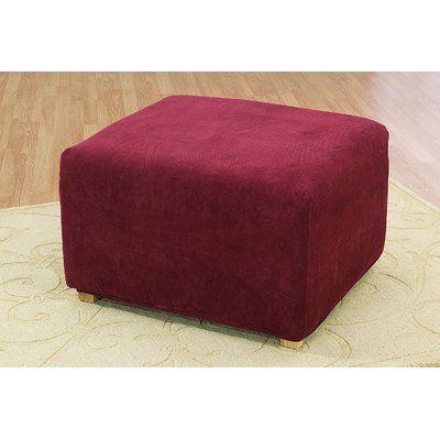 Sure Fit Stretch Pique Ottoman Slipcover Color: Garnet