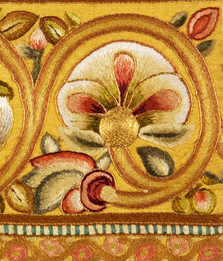 Fragment of 19th century Leek embroidery http://www.embroiderersguild.com