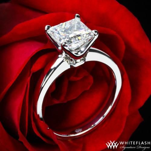 """Princess perfection - Delightfully designed, the """"W-Prong"""" Solitaire Engagement Ring for Princess Cut Diamonds is the perfect platform to show off your most important purchase. The delicate lines overlap and intertwine to create a sanctuary of security for your diamond."""
