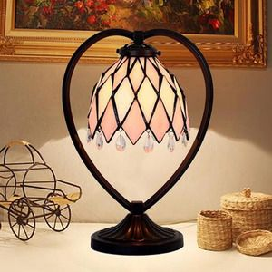 Pink Small Tiffany Table Lamps Alloy Base Stained Glass Shade